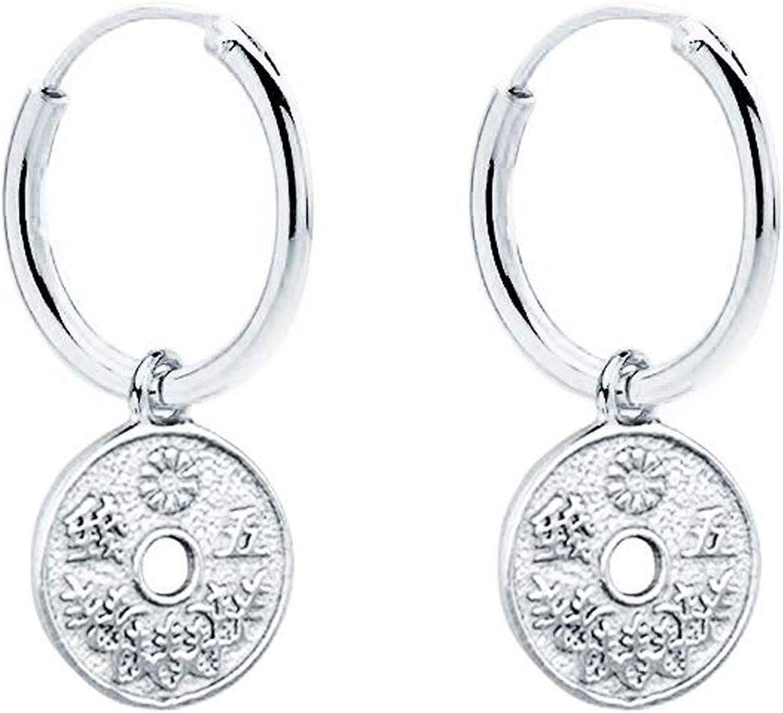 Iyé Biyé Jewels - Pendientes Aros Lisos 10 mm Moneda Japonesa 8mm mujer niña Plata de Ley 925 Mls. Cierre Clásico
