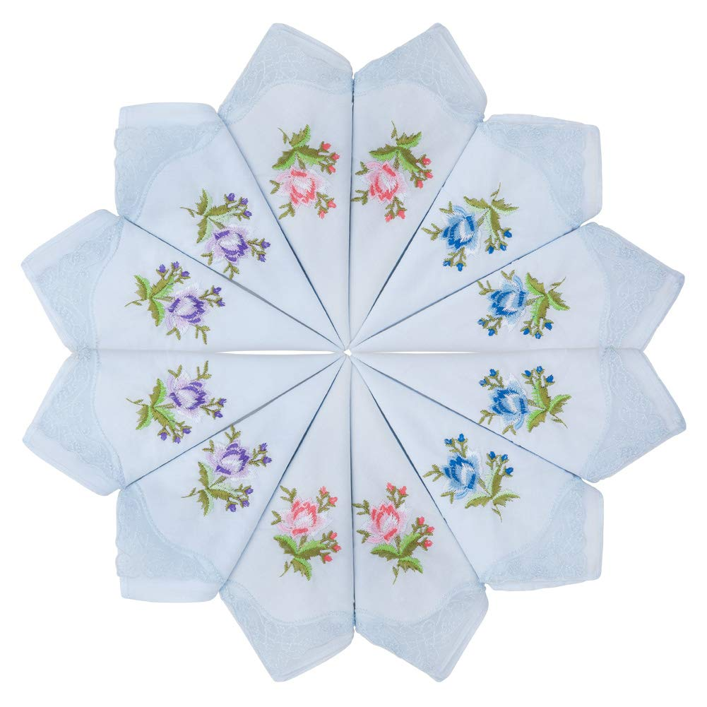 HOULIFE fazzoletti da donna ricamati 100/% cotone 60S da donna azzurro pizzo floreale fazzoletti per festa di nozze 6//12 pezzi 29 x 29 cm