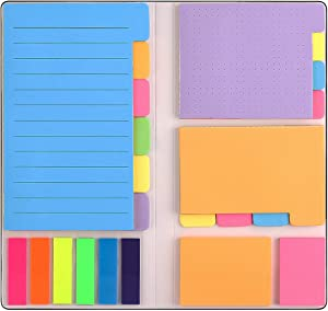 Sticky Notes Set with Bookmark Index for Planner Bullet Journaling Notebook Textbook Calendar, 402Pcs Divider Sticky Notes Bundle, Including 60 Ruled Lined Notes, 48 Dotted Notes, 48 Blank Notes etc
