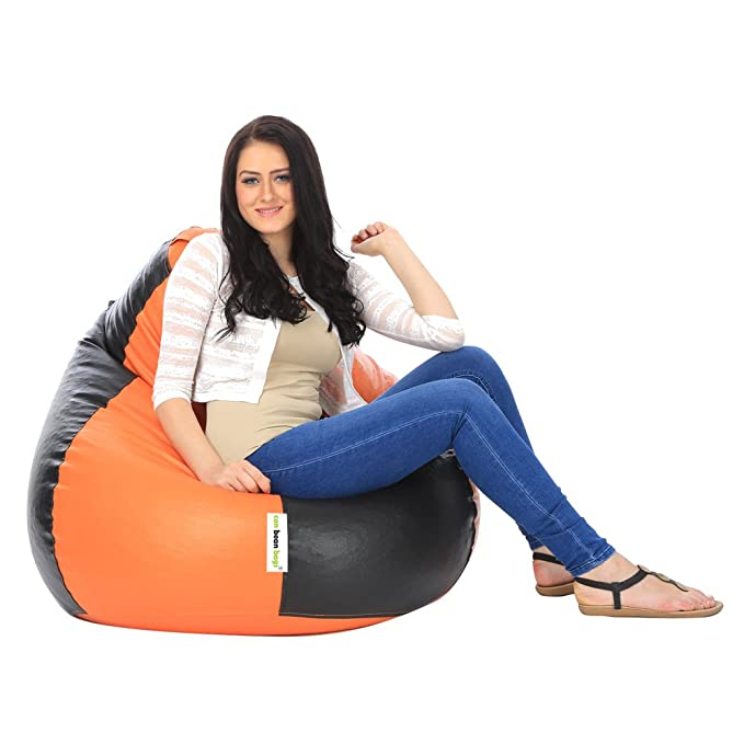 can bean bags Classic XXXL Filled Bean Bag with Beans   Orange and Black Filled Bean Bags