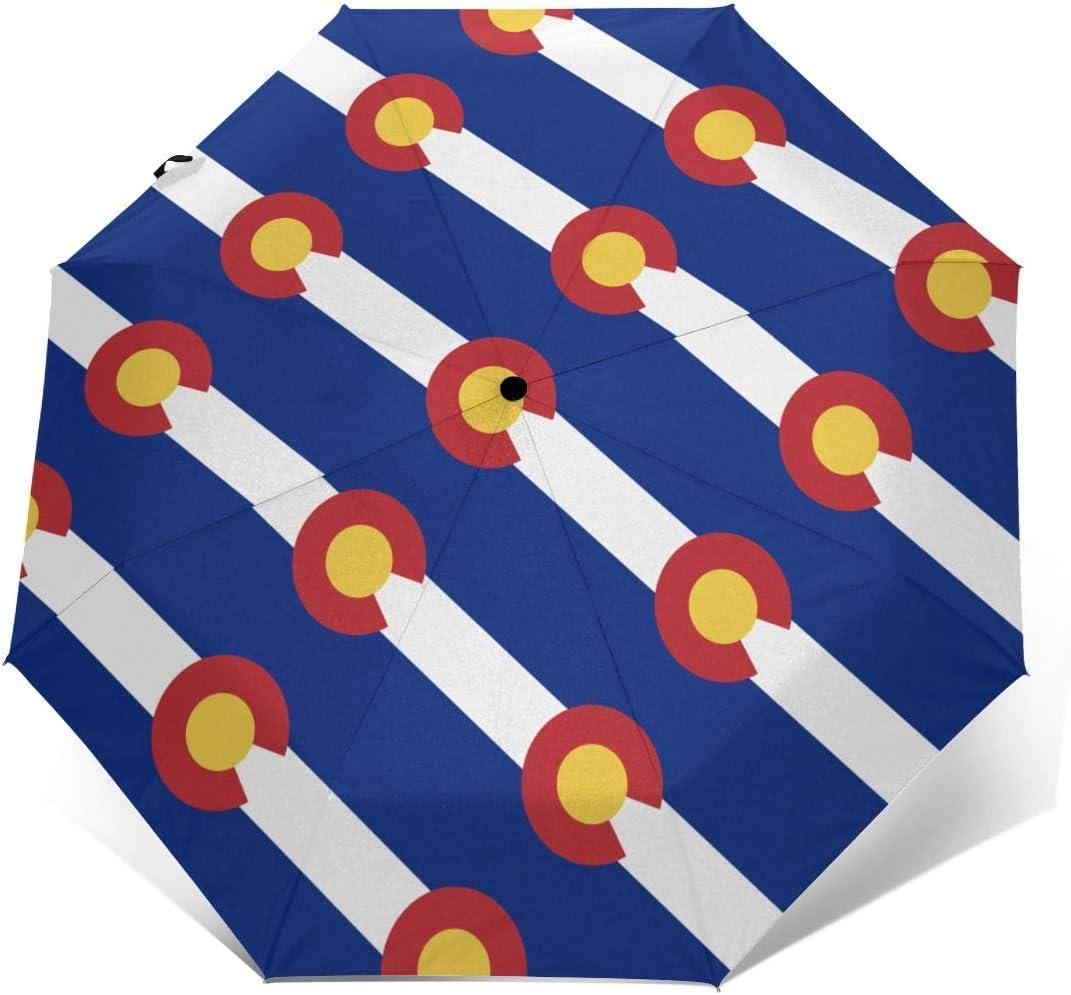 Colorado Flag Automatic Tri-Fold Umbrella Parasol Sun Umbrella Sunshade
