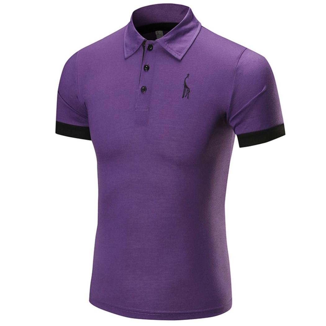 Men Short Sleeve Polo Shirt,Vanvler Male Slim Fit Blouse Fawn Business Tops (2XL, Purple) by Vanvler