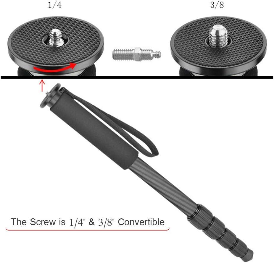 Load Capacity 8kg//17.6lb Docooler DIFUN C-255 5-Section Telescopic Photography Monopod Portable Carbon Fiber Unipod Holder 1//4 3//8 Inch Screw Mounts Bracket with Handle Grip for DSLR Cameras Max