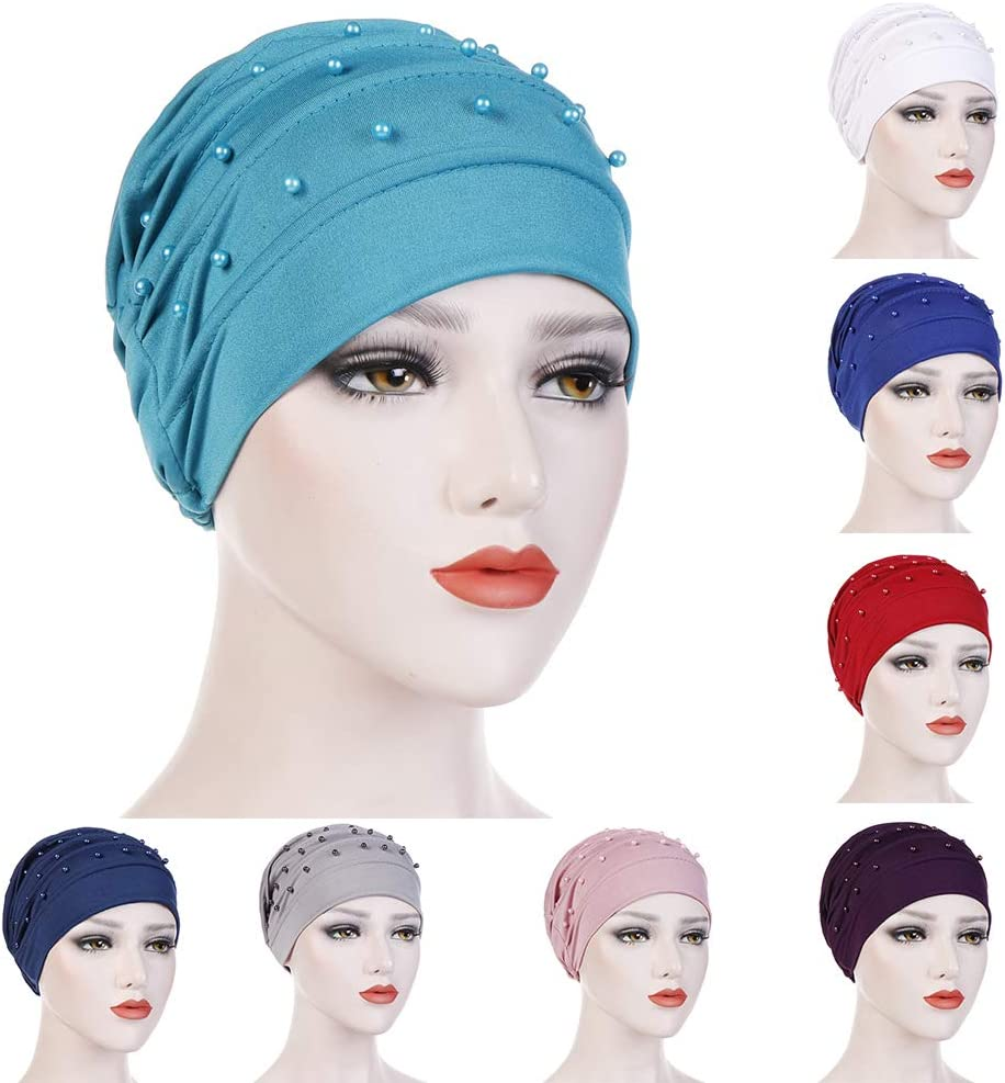 Oyov2L All Season Solid Color Beads Decor Pleated Womens Muslim Hijab Turban Hat Head Wrap Cap Black