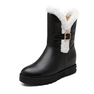Ladies Heighten Inside Platform Buckle Non-Slipping Sole Black Imitated Leather Boots - 5 B(M) US