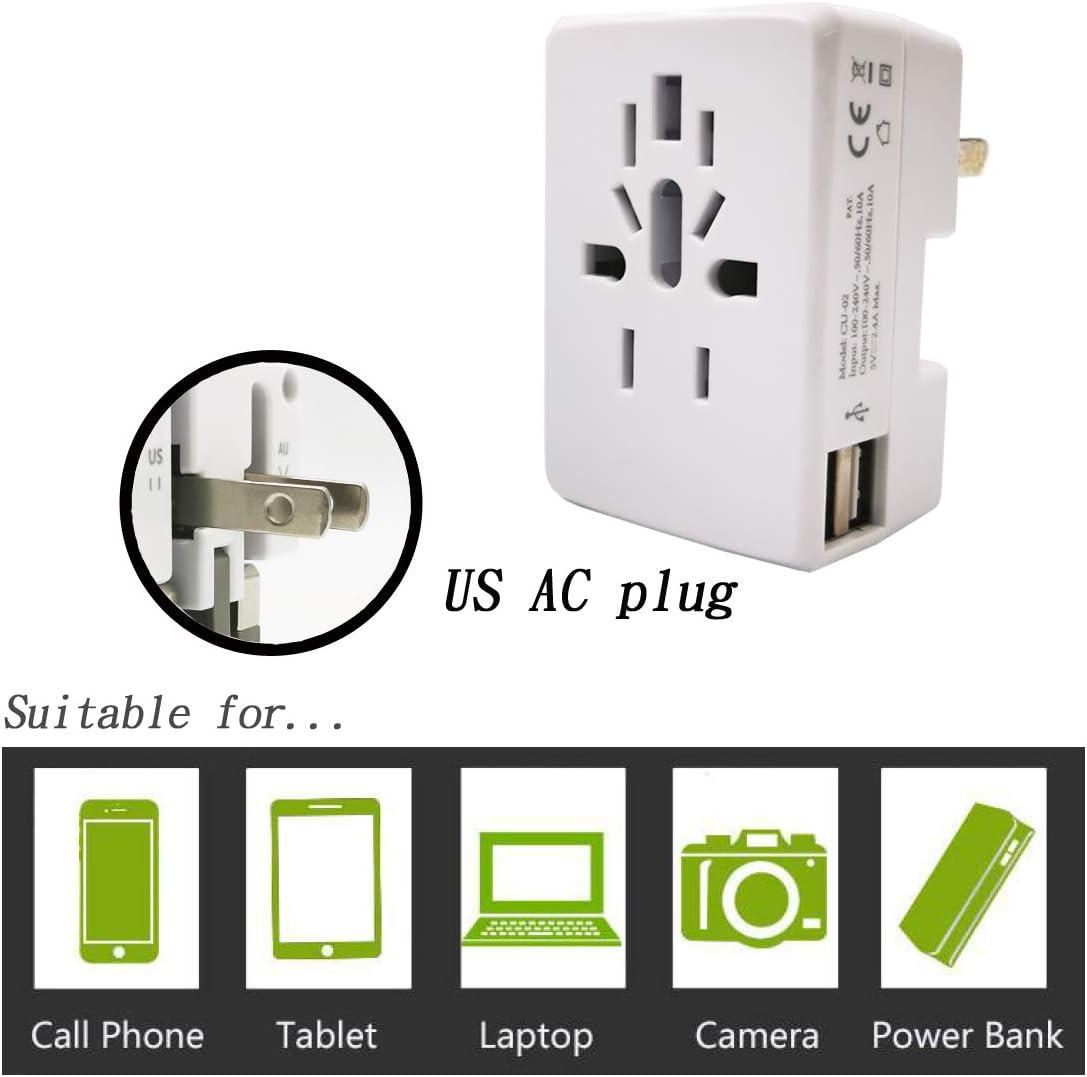 International Travel Adapter Power Plug Converter Universal Dual USA AC Port Worldwide 2.4A USB Charger Wall Outlet Adaptor