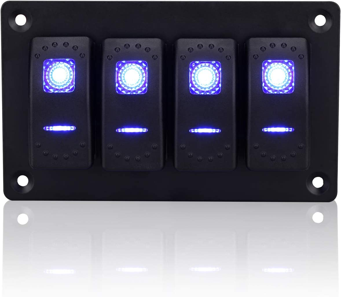 Jiaying Rocker Switch Aluminum Panel 12V 24V 4 Gang Toggle Switches Dash 5 Pin On Off Toggle Switch with Blue Backlit LED for Car Truck Boat Marine …