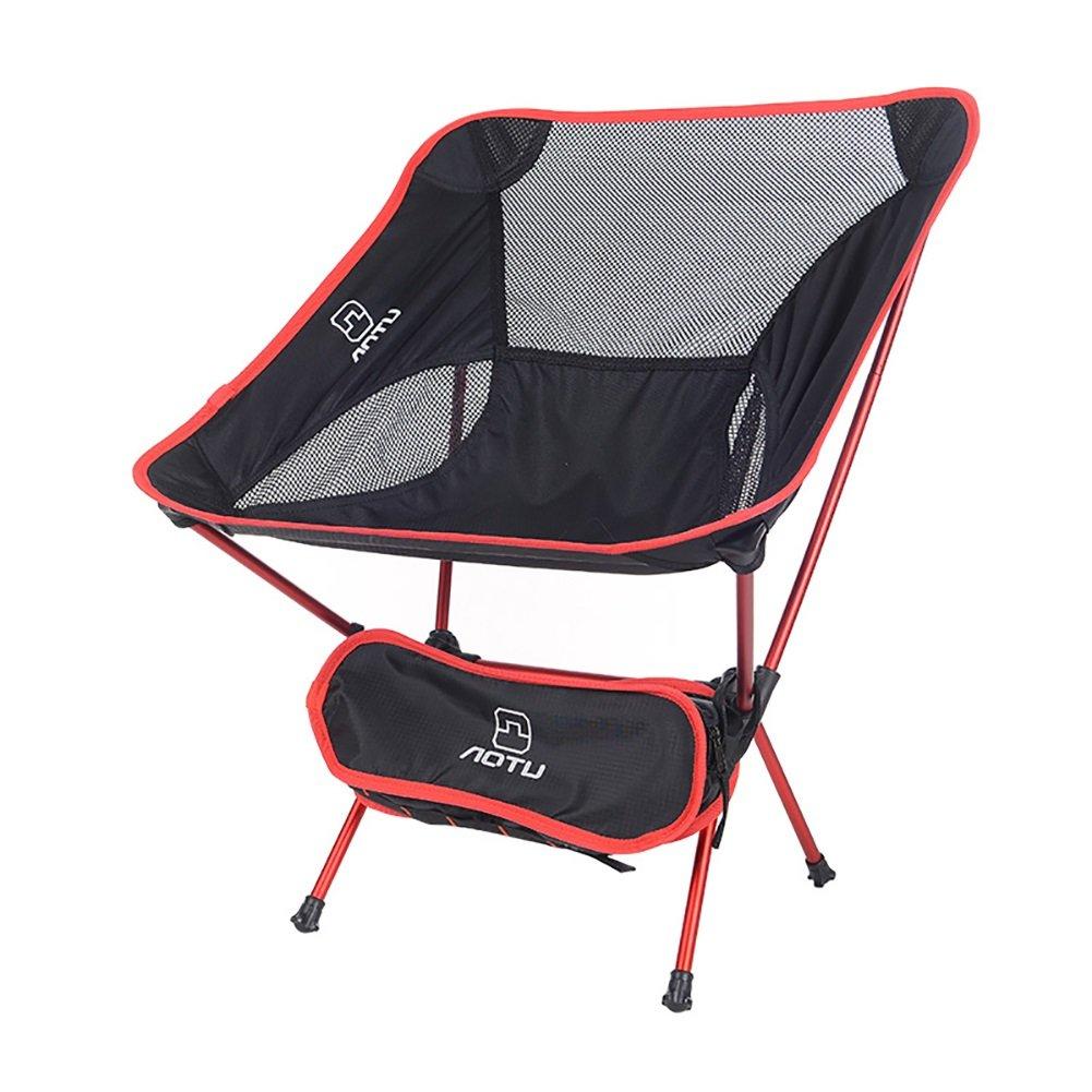 屋外折りたたみ椅子ポータブル超軽量ムーンチェア航空アルミニウム釣りチェアレジャーチェア (色 : 赤)  赤 B07DNNTNTP