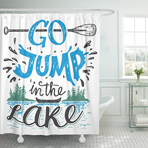 Emvency Shower Curtain Go Jump in The Lake House Sign Vintage Waterproof Polyester Fabric 60 x 72 inches Set with Hooks