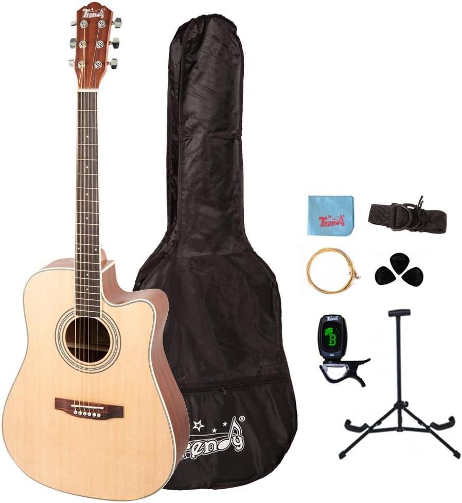 Trendy 41 inch tamaño completo Dreadnought Guitarra Acústica con Cuerdas de acero 6 paquete (con funda, Samsung Galaxy S3 MINI i8190 e-tuner, extra Cuerdas, correa, púas, gamuza de microfibra), color natural: Amazon.es:
