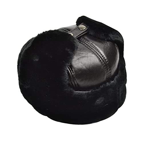 Yosang Trapper Hat Winter Hunter Ushanka with Ear Flaps Winter Sport  Leather Black Hat(Large 6d500c9fa826