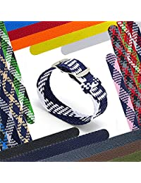 CIVO 20 mm Simple Design NATO Watch Strap Premium Nylon Perlon Braided Woven Watch Bands with Stainless Steel Buckle (Navy/Ivory, 20mm)