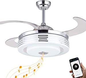 Retractable Ceiling Fan with Light and Bluetooth Speaker, LED Bluetooth Ceiling Fan with Light 7 Color Lighting 42 Inch for Living room/Bedroom/Restaurant