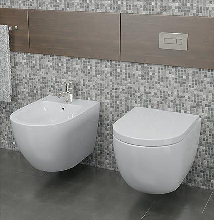 Vorich Coppia Di Sanitari Sospesi Wc E Bidet In Ceramica 36x55x33
