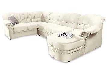 Sofa Couch Leder Wohnlandschaft Kampen Mit Schlaffunktion Weiss