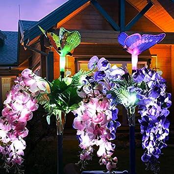 QHJ Mariposa Jardín Solar Iluminación para exterior, 2 unidades Solar Jardín Luz Césped Campo Flor Luz LED Paisaje Luz Jardín Decoración Luz Stake Outdoor Multi cambio de color: Amazon.es: Instrumentos musicales