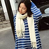 HOMEE Pure Color Pleated Scarf Scarf Winter Tassels Shawl Warm Thickening,White