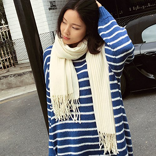 HOMEE Pure Color Pleated Scarf Scarf Winter Tassels Shawl Warm Thickening,White by HOMEE