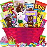 Easter Gift Basket (Pink-30ct) - Chocolates, Candy, Snacks, Toys - Wrapped, Pre-Filled, Assortment Variety Present for Boy, Girl, College Student, Child, Kids, Grandchildren, Grandchild, Son, Daughter