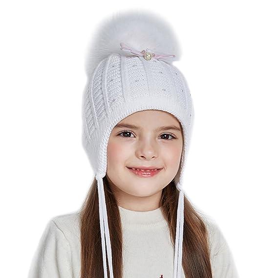 230c5c0b6590 URSFUR Bonnet Cap Tricot Pompon Fourrure Bébé Fille Chapeau Bonnet Beanies Cache  Oreille Nœud Coton Enfant