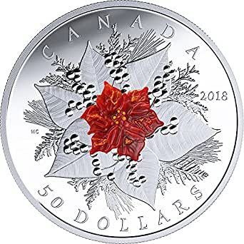 2018 CA Modern Commemorative HOLIDAY SPLENDOUR Poinsettia Christmas Eve Flower 5 Oz Silver Coin 50$ Canada 2018 Proof