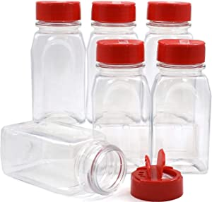 SalusWare - 6 Pack - 9.5 Oz with Red Cap - Plastic Spice Jars Bottles Containers � Perfect for Storing Spice, Herbs and Powders � Lined Cap - Safe Plastic � PET - BPA Free - Made in The USA�