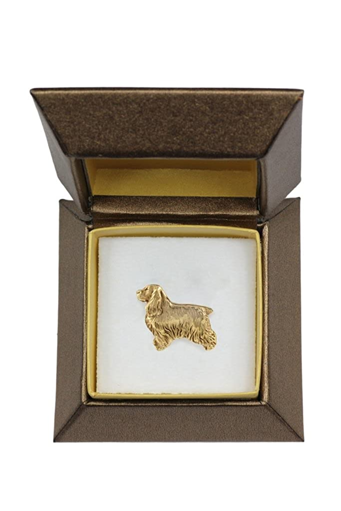 Brooch Dog pin Box in Casket ArtDog English Cocker Spaniel millesimal fineness 999 Badge