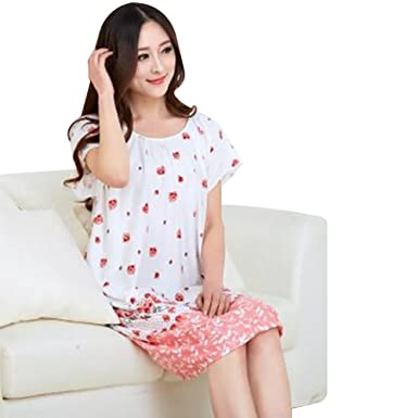 Sattaj Fashion New Nightgowns For Women Long Cartoon Girls Nightwear  Nightdress Cotton and Silk Sleepshirt Summer 2d18e16ce