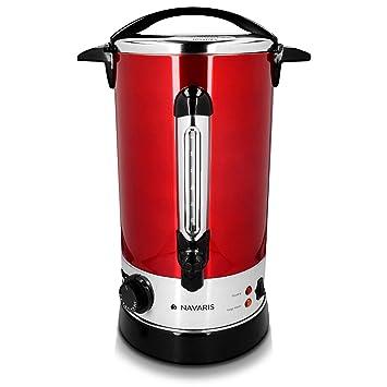 Navaris hervidor de agua eléctrico de 10L con grifo - Dispensador de bebidas calientes con termostato - Olla eléctrica para té café y vino en rojo: ...