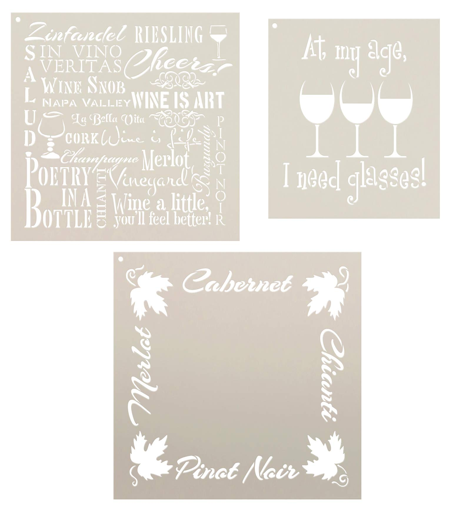 Wine Stencil Set - 3 Part by StudioR12 | Reusable Mylar Template | Use to Paint Wood Signs - Pillows - DIY Wine Lovers Decor
