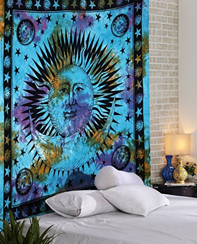 - RAJRANG BRINGING RAJASTHAN TO YOU Psychedelic Tapestry - Celestial Sun and Moon Wall Hanging Indian Hippie Decorative Throw Tie Dye Bohemian Hand loomed Window Door Curtain - 90 X 84 Inches