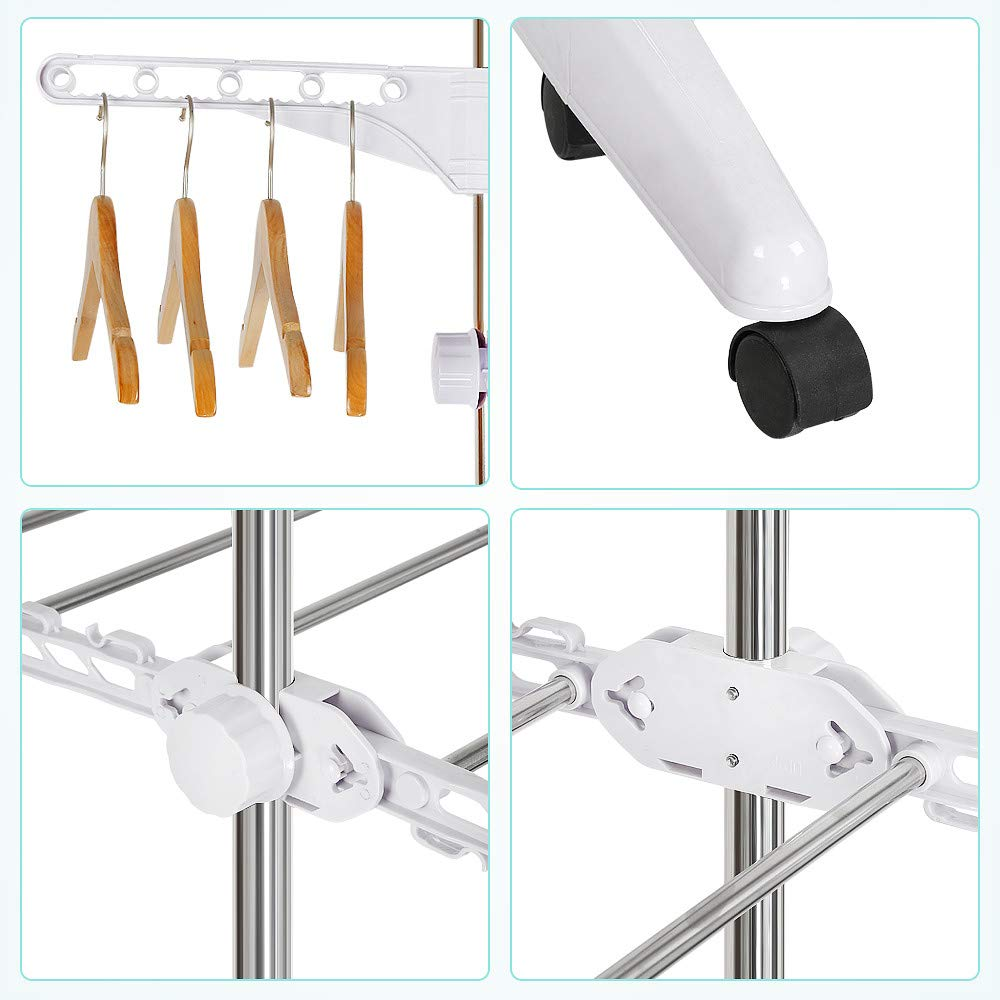 Seche linge,S/échoir vertical,4 tier,166cm, rail de s/échage pour v/êtements acier inoxydable pour un rangement facile,avec 6 rouleaux