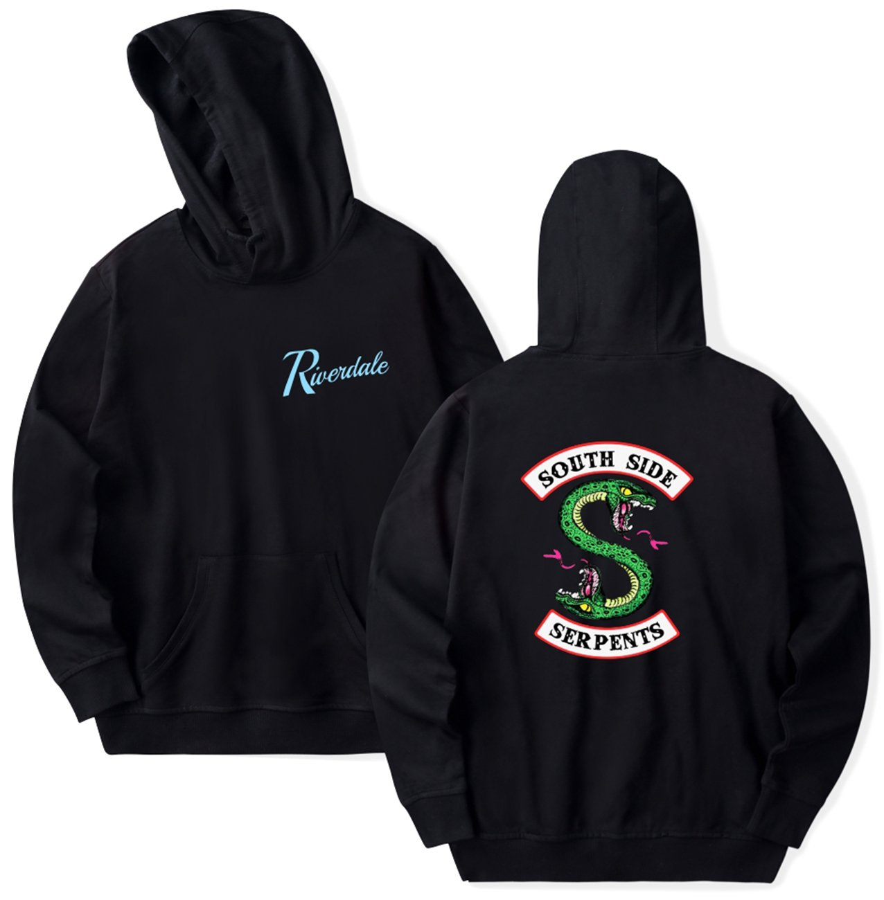 SERAPHY Unisex Hoodie Riverdale Southside Serpents Sweatshirt Black M