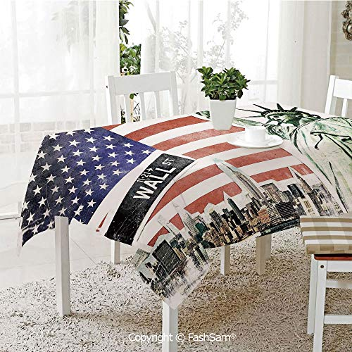 FashSam Party Decorations Tablecloth NYC Collage with Famous Monuments Wall Street and Manhattan Urban Display Dining Room Kitchen Rectangular Table Cover(W60 xL104) ()