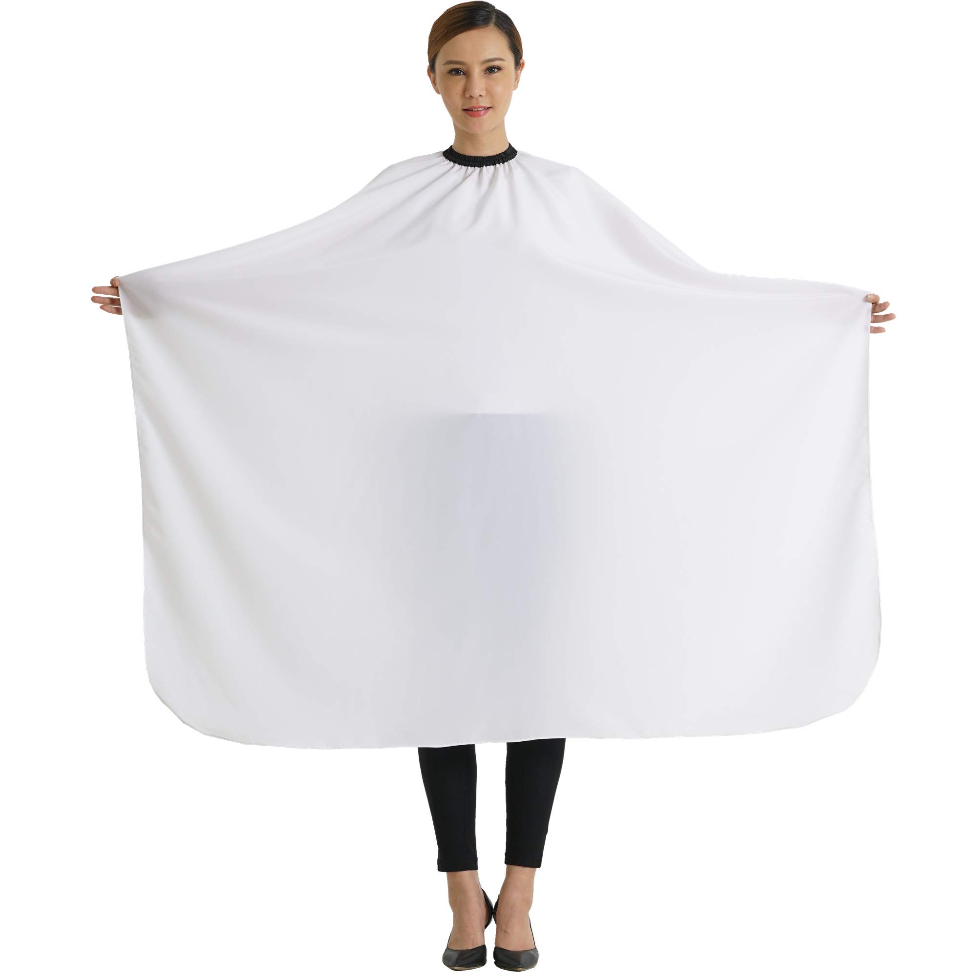 "SMARTHAIR Professional Salon Cape Polyester Haircut Apron Hair Cut Cape,54""x62"",White,C026005B by SMARTHAIR"