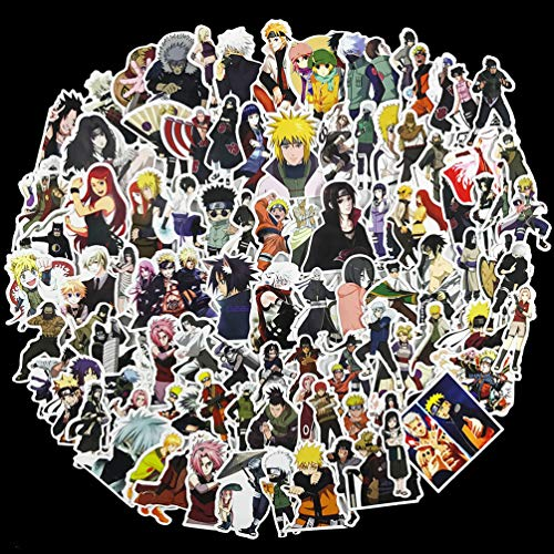 Anime Naruto Patch - Naruto Laptop Stickers 100Pcs Pack, Anime Water Bottle Travel Case Computer Wall Skateboard Motorcycle Phone Bicycle Luggage Guitar Bike Stickers Decal for Kids