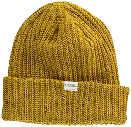 (Coal Men's The Eddie Recycled Rib Knit Beanie Hat, Mustard, One Size)