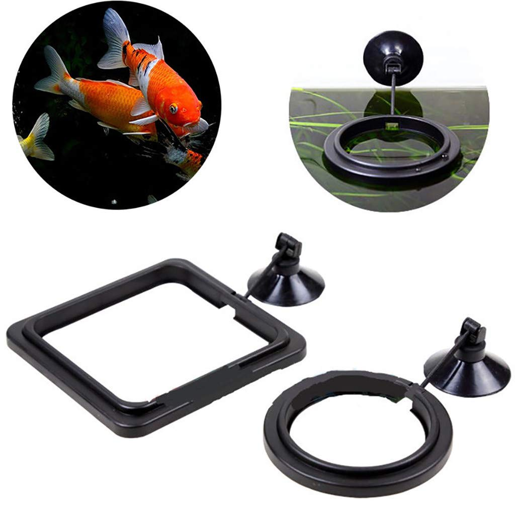 Tuscom Fish Feeding Ring, Practical Floating Food Tary Feeder with Suction Cup Circle Square and Round Reduces Waste Maintains Water for Guppy, Goldfish and Other Smaller Fish (Circle)