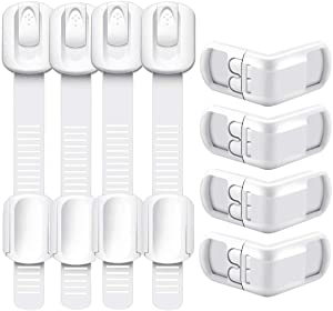 Child Safety Locks | Baby Proofing Cabinets | Refrigerator Lock | Child Proof Cabinet Locks|Adjustable Straps and Right Angles Combination| Super Strong 3M Adhesive (8-Pack)