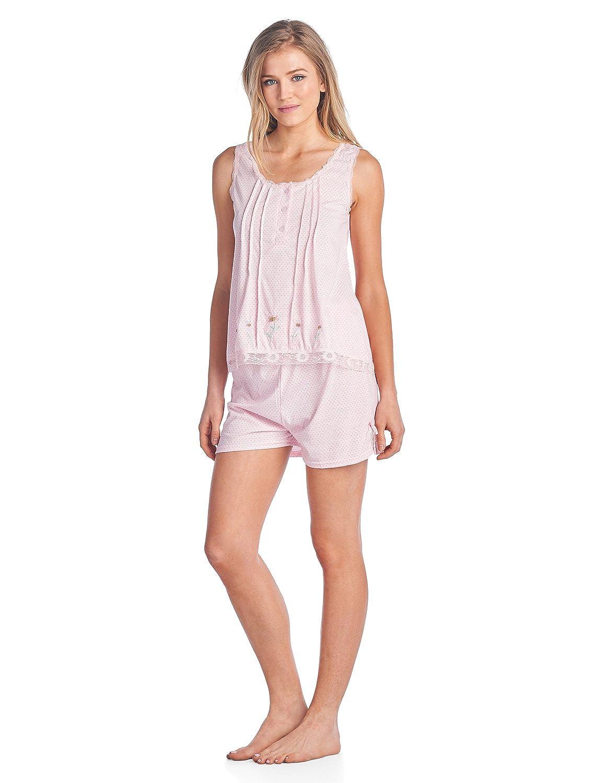 Casual Nights Women's Sleeveless Tank and Pajama Shorts Set Cami and Shorts Pj' s