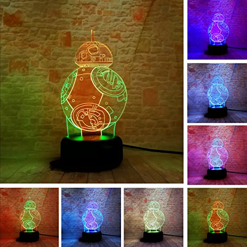 BB-8 3D Mixed-Colored Lamp Star War Fuwa Force Awaken Night Touch 7 Color Change Best Gift Night Light LED Furnish Desk Table Lighting Home Decor ()