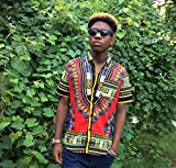 Traditional Men's African Dashiki Dress Shirt - RED