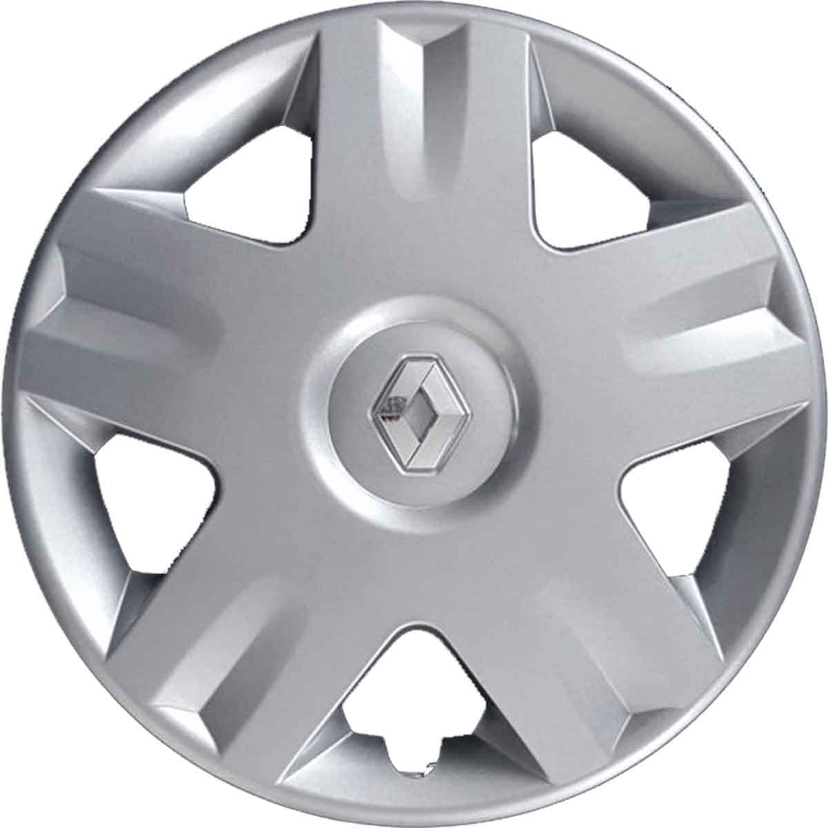 Series 4 Hubcaps Wheel Studs Cups 14 Clio 2001 Onwards Chrome Logo Not Original Aftermarket
