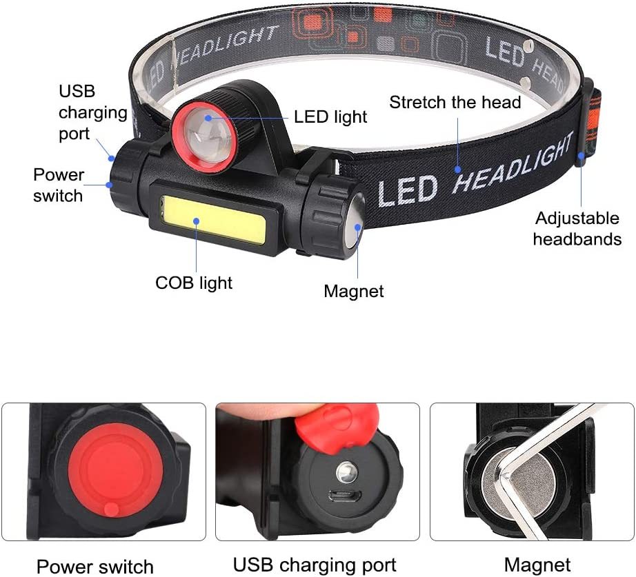 Headlamp Outdoors Brightest High Lumen LED Work Headlight USB Rechargeable Waterproof Flashlight with Zoomable Work Light Head Lights for Camping,Hiking