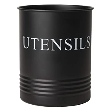 Utensil Holder - Modern Farmhouse Decor for Kitchen and Home - Matte Black Crock Organizer Caddy - Great for Large Cooking Tools and Utensils by H & K Designs