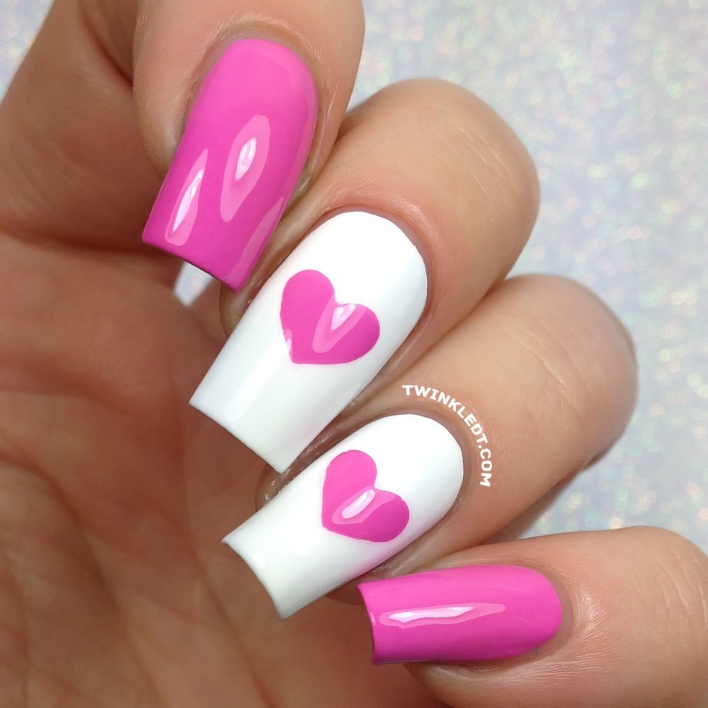 Amazon.com : Single Heart Nail Vinyls By Twinkled T - 1 Sheet of 24 ...