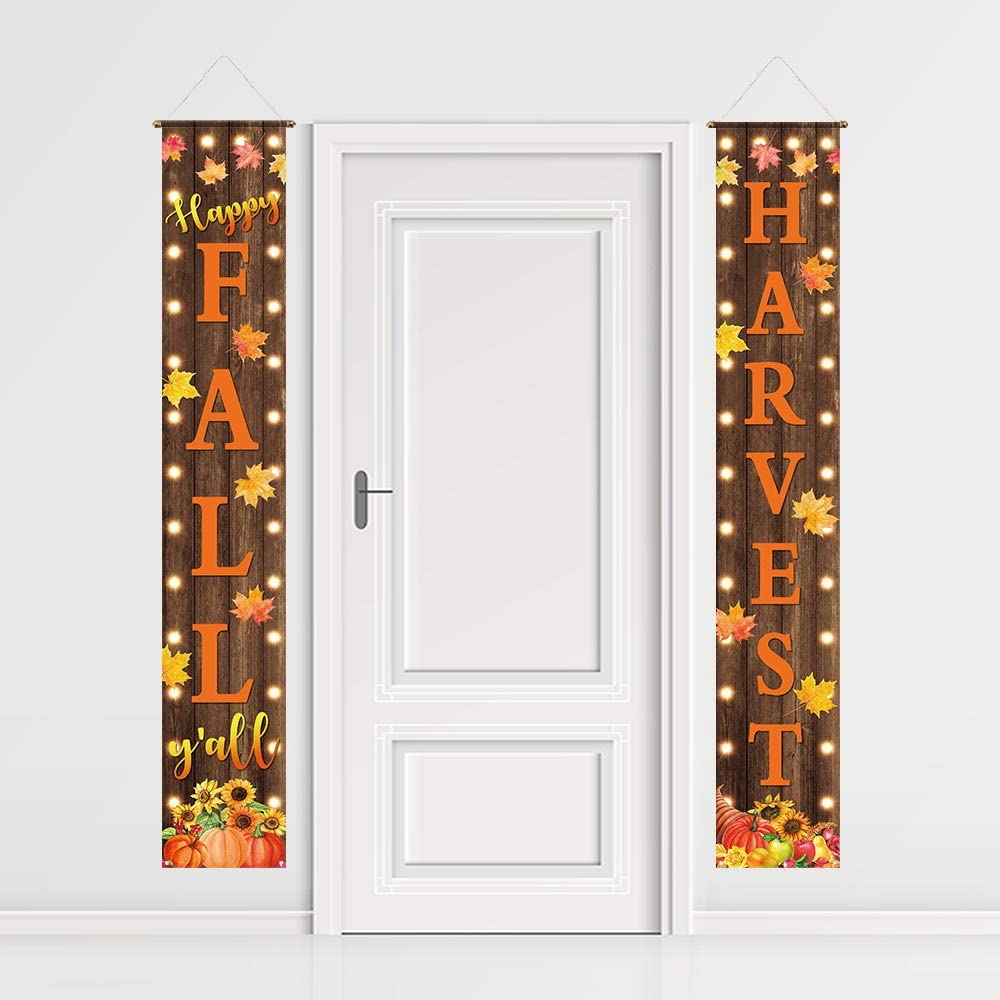 Funnytree Fall Harvest Porch Sign Autumn Pumpkin Front Porch Banner Thanksgiving Party Backdrop Lawn Decor Wall Hanging Flag Outdoor Indoor Photobooth Prop Windproof Events Supplies Polyester 2PCS