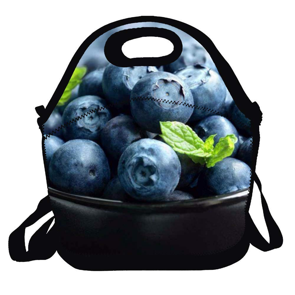 Insulated Pranzo al sacco Reusable Lunch Box Blueberry Picnic Cooler Bag for Men Women Adjustable Shoulder Strap