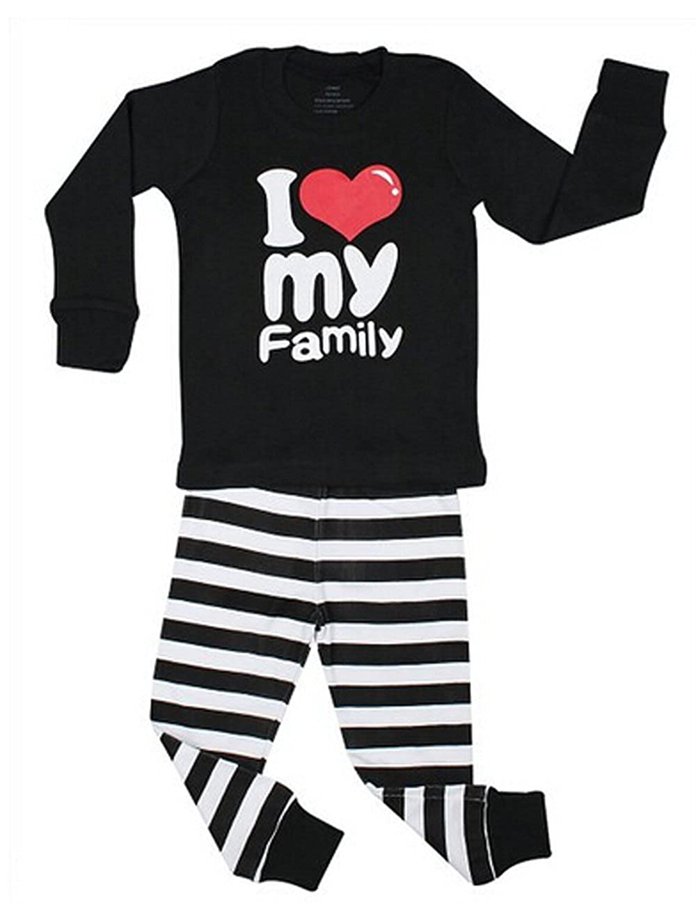 CANIS KidsI Love Family Long Sleeve Tops /& Striped Pants 2 Piece Pajama Set