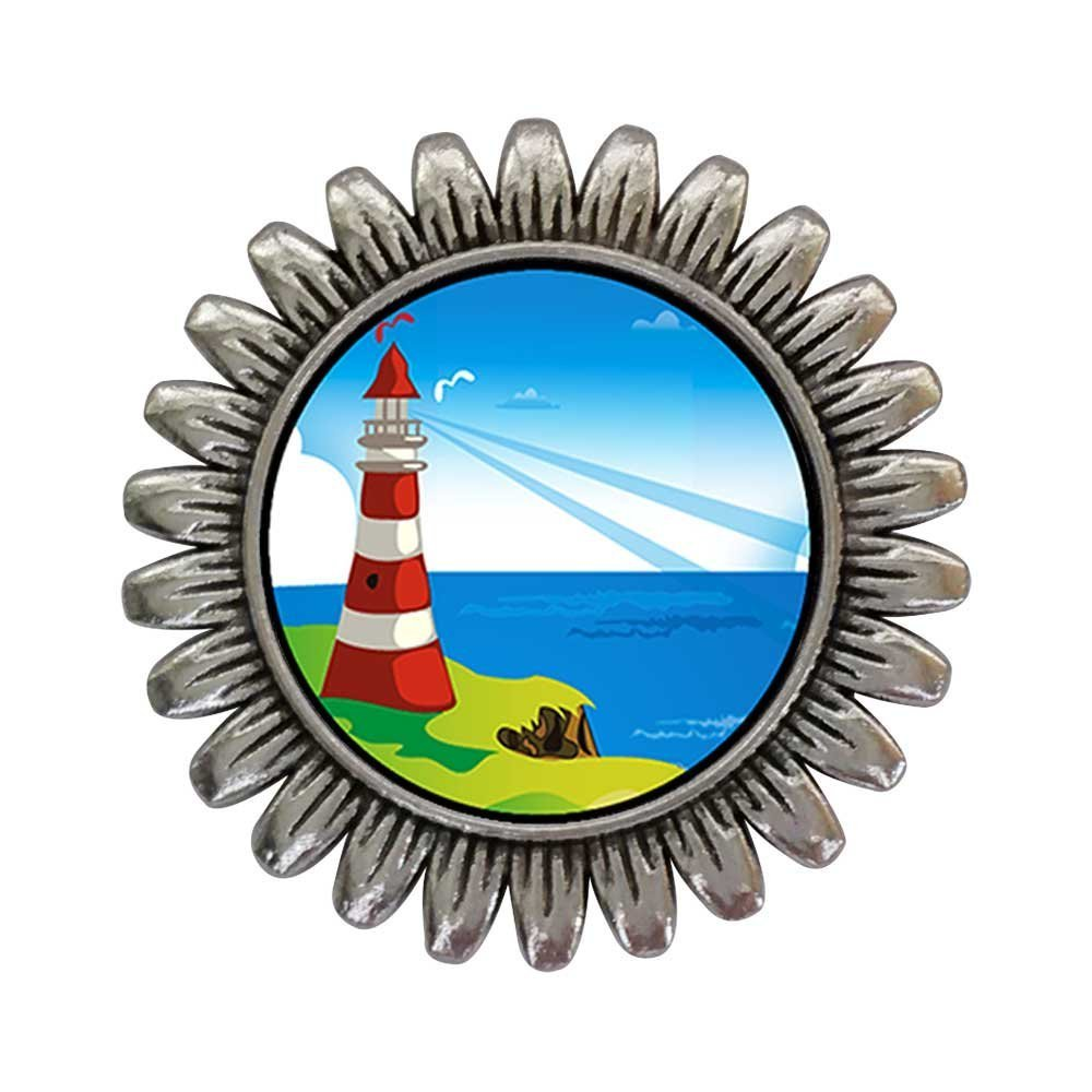 GiftJewelryShop Ancient Style Silver Plate Travel Culture Lighthouse Sunflower Pins Brooch